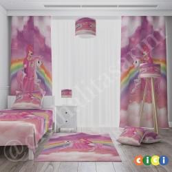 Atlı Gökkuşağı Kız Çocuk Odası  Fon Perdesi-CFP513