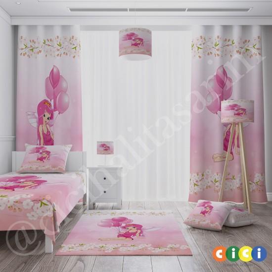 Balonlu Prenses Kız Çocuk Odası  Fon Perdesi-CFP515