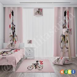 Bisikletli Prenses Kız Çocuk Odası Halısı-CK530