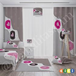 Kalpler Temalı Kız Çocuk Odası Kırlent-KIR538