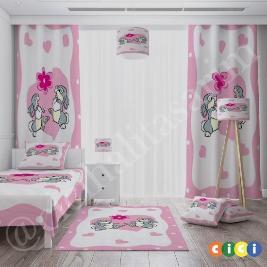 Sevimli Tavşanlar Kız Çocuk Odası Halısı-CK544