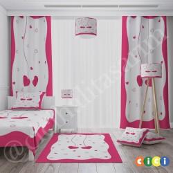 Sarkıt Kalpler Koyu Pembe Kız Çocuk Odası Yatak Örtüsü-CYO545