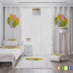Renkli Uçan Balonlar Kız Çocuk Odası Fon Perdesi-CFP558