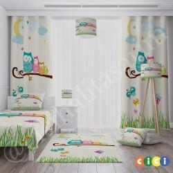 Baykuş Ailesi Çocuk Odası  Fon Perdesi-CFP559