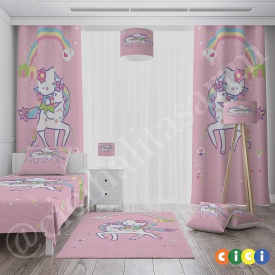 Hello Kitty ve Unicorn Kız Çocuk Odası Fon Perdesi-CFP560