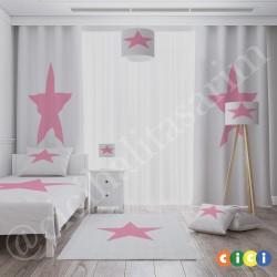 Beyaz Zemin Pembe Yıldız Kız Çocuk Odası Yatak Örtüsü-CYO562