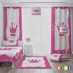Pembe Çerçeveli Taçlı Kız Çocuk Odası Halısı-CK570