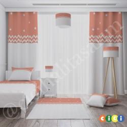 Beyaz Zigzag İki Renk Kız Çocuk  Yatak Örtüsü-CYO593
