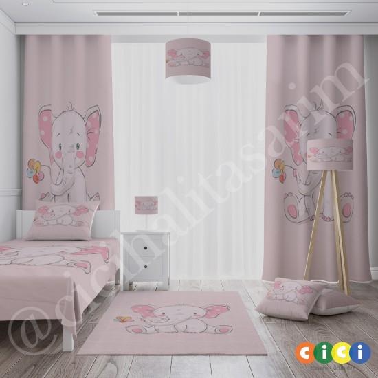 Sevimli Pembe Fil Kız Çocuk  Halısı-CK598