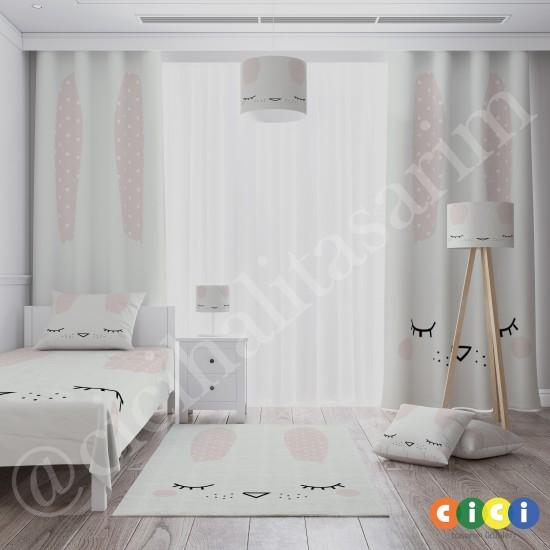 Sevimli Tavşan Silüeti Kız Çocuk  Yatak Örtüsü-CYO612