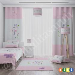 Çiçekler ve Kelebek Kız Çocuk  Yatak Örtüsü-CYO613