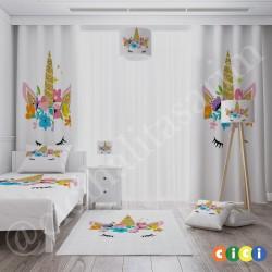 Boynuzlu At Kız Çocuk  Yatak Örtüsü-CYO615