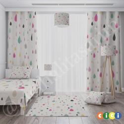 Renkli Yağmur Damlaları Kız Çocuk  Yatak Örtüsü-CYO617
