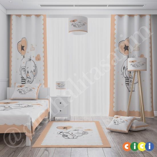 Yıldızlı Balon ve Fil Kız Çocuk  Halısı-CK621