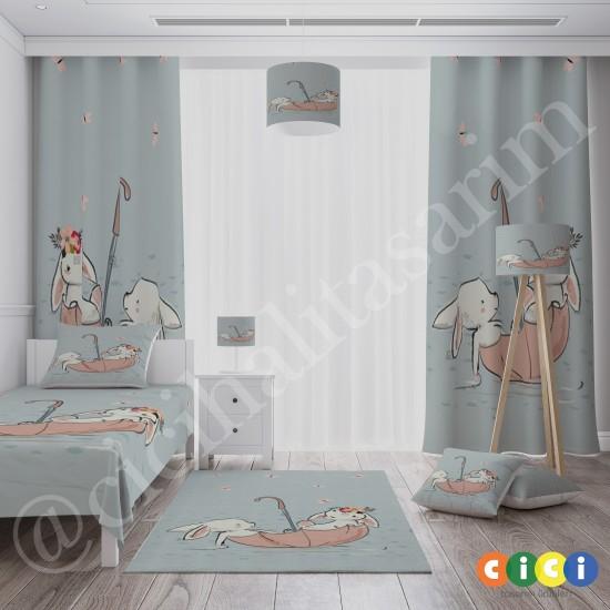 Tavşanlar ve Şemsiye Kız Çocuk  Halısı-CK630