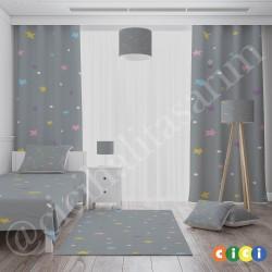 Rengarenk Yıldızlar ve Gri Zemin Kız Çocuk  Yatak Örtüsü-CYO639