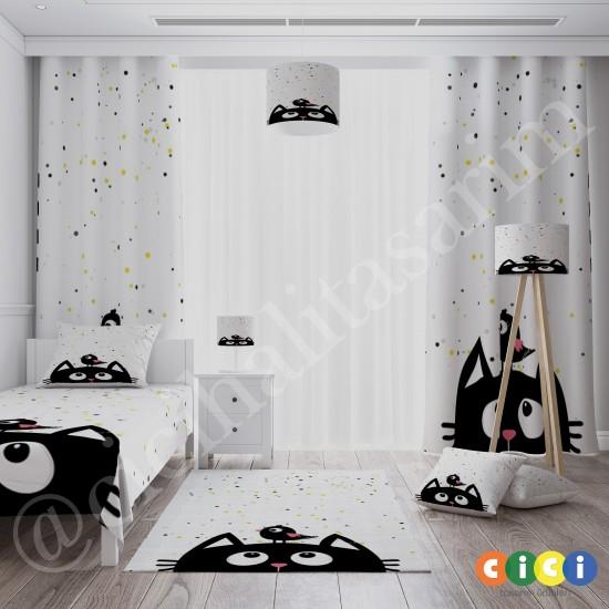 Noktalı Zemin ve Siyah Kedi Kız Çocuk  Fon Perdesi-CFP641