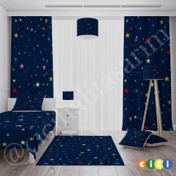 Renkli Yıldızlar ve Koyu Zemin Kız Çocuk  Kırlent-KIR643