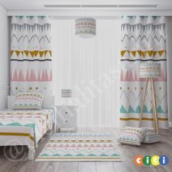 Renkli Üçgenler ve Şekiller Kız Çocuk  Fon Perdesi-CFP644