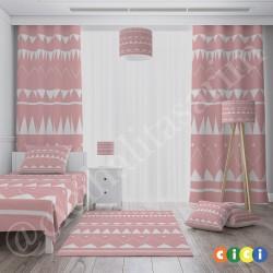 Pembe Zemin ve Beyaz Şekiller Kız Çocuk  Halısı-CK646