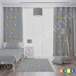 Gri Rengarenk Puantiyeler Kız Çocuk  Fon Perdesi-CFP651