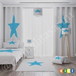 Beyaz Zemin Mavi Yıldız Erkek Çocuk Odası Avize-CA66
