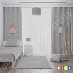 Gri Zemin ve Sevimli Yıldızlar Kız Çocuk  Yatak Örtüsü-CYO667