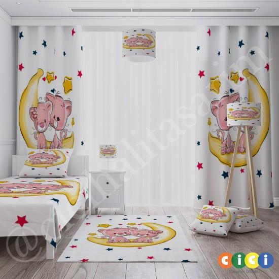 Sevimli Kediler ve Ay Dede Kız Çocuk Odası Halısı-CK670