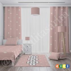 Puantiye ve Seksek Kız Çocuk Odası Yatak Örtüsü-CYO674