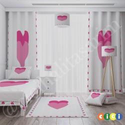 Kalp Çerçeve Çift Kalp Desen Kız Çocuk  Yatak Örtüsü-CYO676