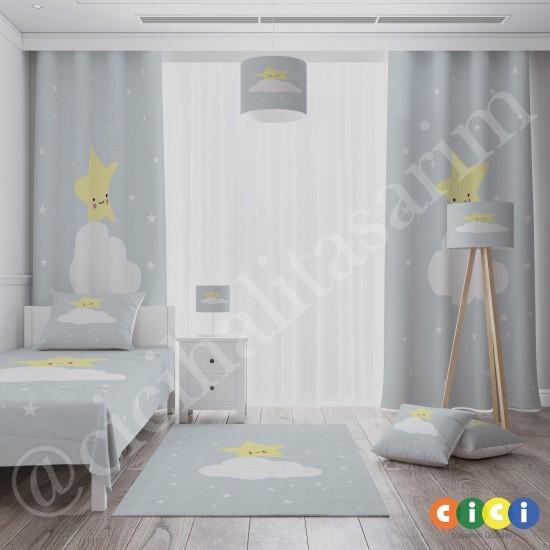 Sevimli Sarı Yıldız ve Bulut Kız Çocuk  Halısı-CK681