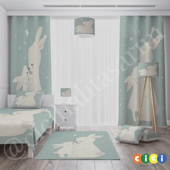 Sevimli Tavşan ve Annesi Kız Çocuk  Fon Perdesi-CFP688