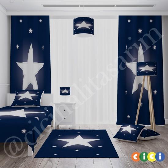 Beyaz Yıldız Lacivert Zemin Çocuk  Fon Perdesi-CFP69