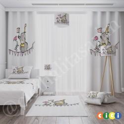 Cambaz Fil ve Tavşan Kız Çocuk  Fon Perdesi-CFP698