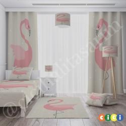 Bej Zemin ve Flamingo Kız Çocuk  Fon Perdesi-CFP699