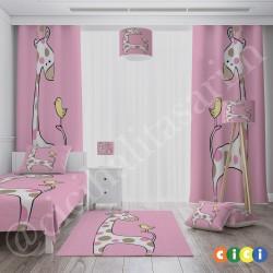 Benekli Zürafa ve Minik Kuş Kız Çocuk  Fon Perdesi-CFP700