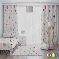 Krem Zemin Renkli Damla Taneleri Kız Çocuk  Halısı-CK701