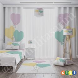 Renkli Kalp Balonlar Kız Çocuk  Yatak Örtüsü-CYO702