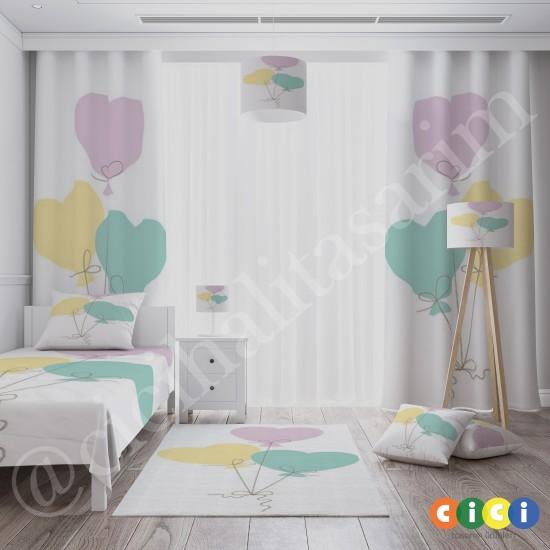 Renkli Kalp Balonlar Kız Çocuk  Fon Perdesi-CFP702