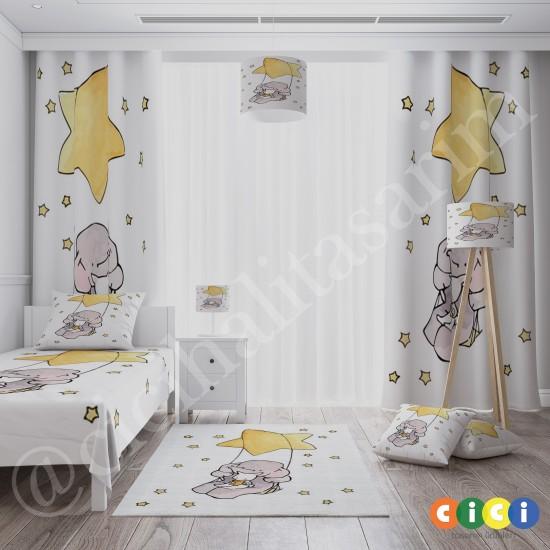 Sevimli Fil ve Tavşan Sarı Yıldız Kız Çocuk  Halısı-CK705