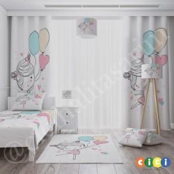 Renkli Balonlar ve Balerin Kız Kız Çocuk  Fon Perdesi-CFP706