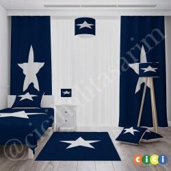 Beyaz Yıldız Lacivert Sade Zemin Çocuk  Avize-CA71