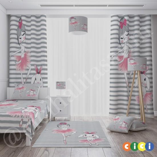 Balerin ve Tavşan Kız Çocuk Odası Fon Perdesi-CFP718