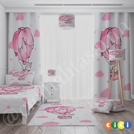 Uçan Hava Balonlu Sevimli Fil Kız Çocuk Odası Halısı-CK725
