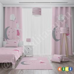 Ay Dede ve Peri Kızı Kız Çocuk Odası Fon Perdesi-CFP729