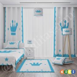 Mavi Kral Taclı Çocuk  Halısı-CE73