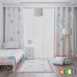 Mavi Pembe Bulutlar ve Yıldızlar Yatak Örtüsü-CYO730
