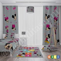 Mickey Mouse ve Minnie Mouse Temalı Seksek Kız Çocuk Odası Yatak Örtüsü-CYO732