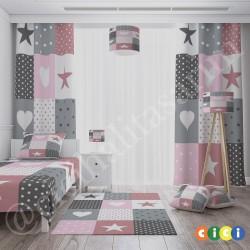 Patchwork Temalı Kız Çocuk Odası Kırlent-KIR736