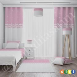 Pembe Beyaz Zikzaklı Kız Çocuk Odası Yatak Örtüsü-CYO740